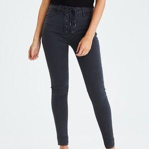 582de7e18 American Eagle Outfitters Pants - AMERICAN EAGLE BLACK LACE UP PANTS
